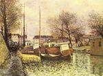 Лодки на канале Сен-Мартин в Париже